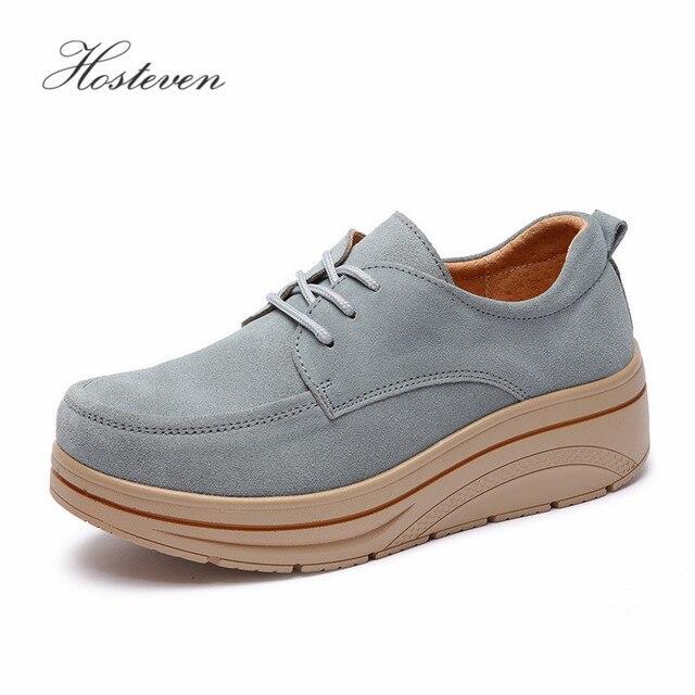 Hosteven femmes chaussures Sneakers mocassins plats plate forme vache daim cuir printemps automne dames mocassins femme chaussure