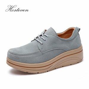 Image 1 - Hosteven/Женская обувь; кроссовки на плоской подошве; лоферы на платформе из коровьей замши; сезон весна осень; женские мокасины; женская обувь