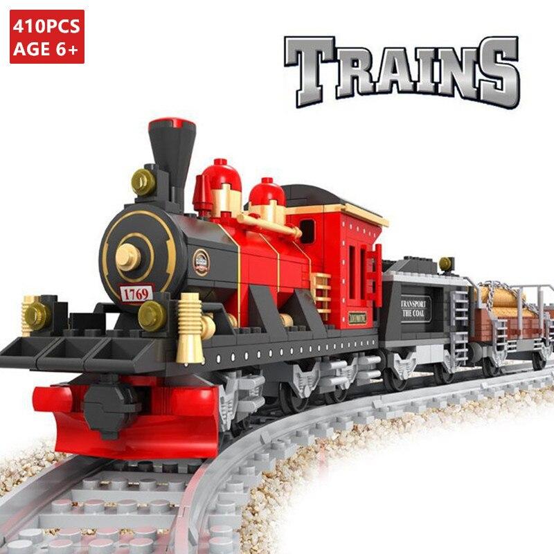 410Pcs Conjuntos de Blocos de Construção Trilha Trilhos de Trem Da Cidade DIY Criador Tijolos Passatempos Compatível LegoINGLs Brinquedos Educativos para Crianças