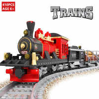 410Pcs City Train Building Blocks Sets Track Rails DIY Creator Bricks Hobbies LegoINGs Technic Toys for Children Christmas Gifts