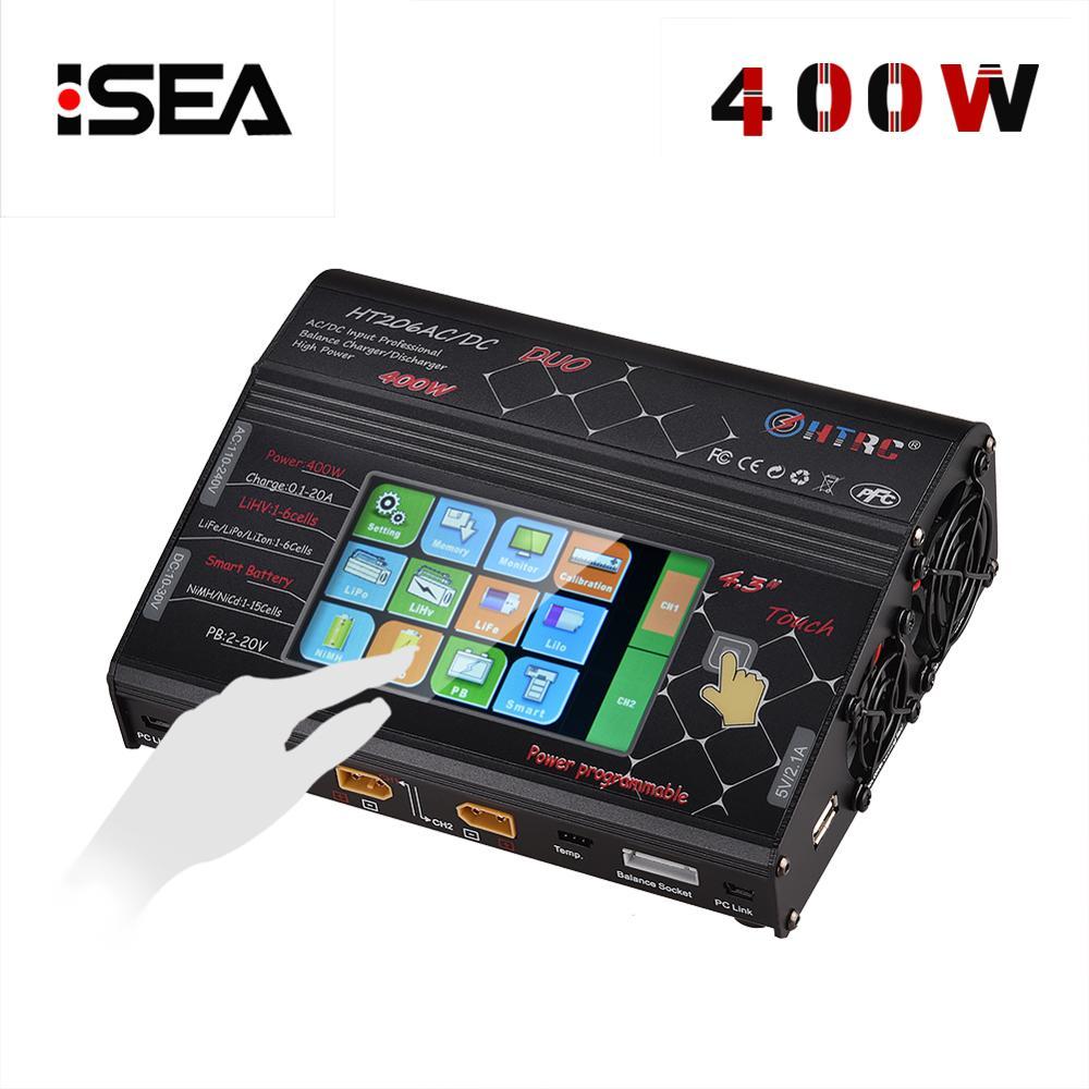 HTRC HT206 AC/DC DUO 400 W 40A Dual Port Carregador RC Equilíbrio Carregador Lipo Lilon Tela LCD Sensível Ao Toque /LiPo/Vida/LiHV Descarregador de Bateria