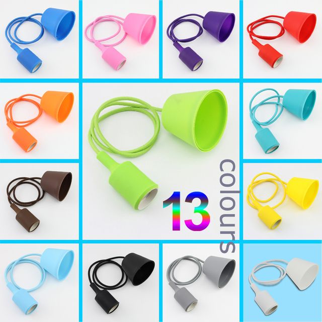 DIY Personality 13 Colorful Silicone braided rope single head pendant light modern brief decoration bar cord E27 lamp