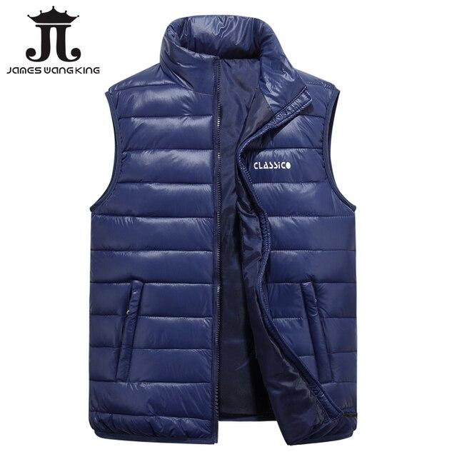 2017 Men's Vest Winter Brand solid Vest Male Fashion Cotton-Padded Waistcoat Jacket and Coat Warm Vest plus size 4XL,5XL.