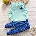 2016 Детей мальчики девочки дети Одежда Наборы Мультфильм пентаграмма костюмы 2 шт. пижамы с длинным рукавом мультфильм пижамы