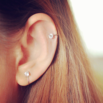 Top Quality AAA Cezch Zircon Silver Filled Tragus Non Piercing Clip Earring 3
