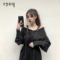 17zq Womens Tops Blouses Summer Autumn 2018 New Fashion Black Vertical Stripe Shirt Long Sleeve Loose Off Shoulder Top T5893