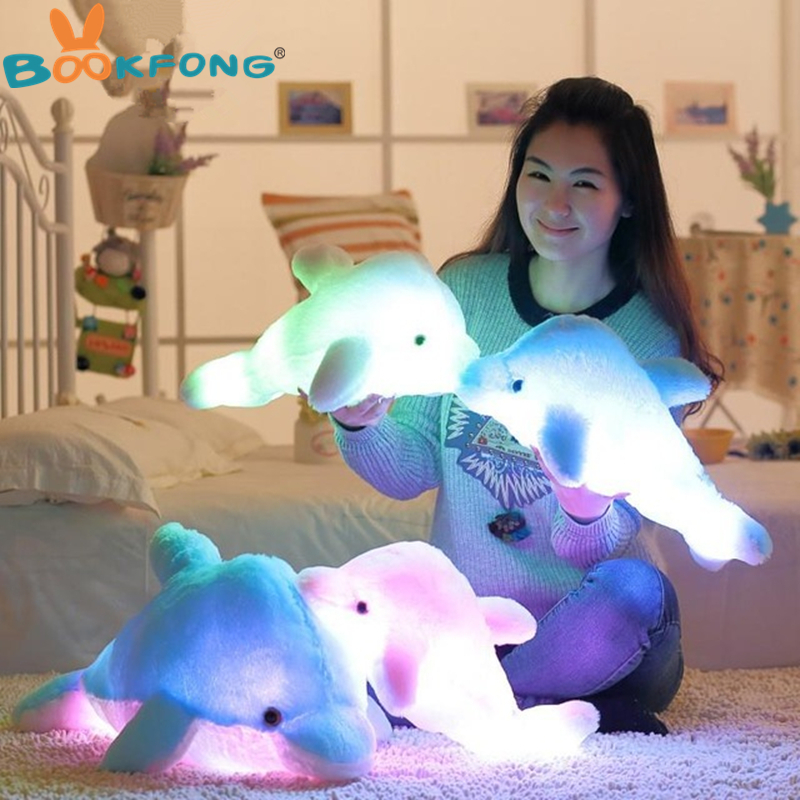 BOOKFONG 45cm Colorful Dolphin Plush Doll Toy Luminous Plush Stuffed Flashing Cushion Pillow With LED Light Party Birthday Gift bookfong 1pc 35cm simulation horse plush toy stuffed animal horse doll prop toys great gift for children