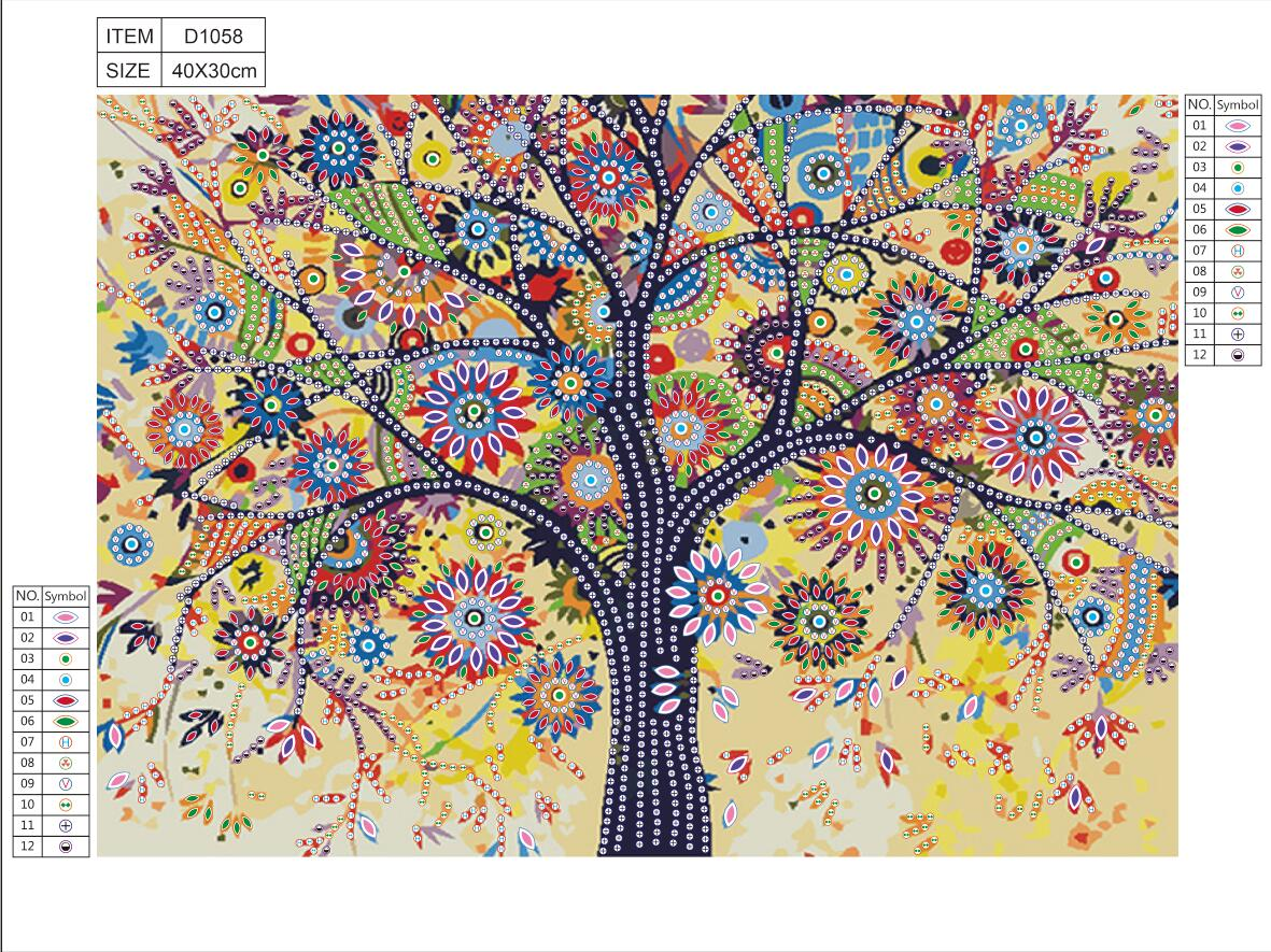 5D Special Shaped Diamond Painting Colorful Tree Pattern Partial Drilled Cross Stitch Kits DIY Diamond Embroidery Decor Home in Diamond Painting Cross Stitch from Home Garden