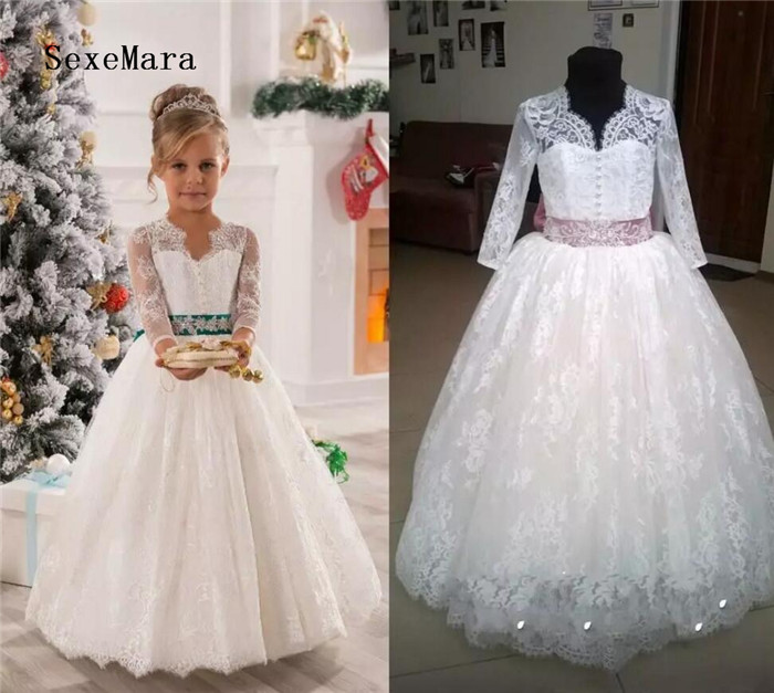 Elegant Ball Gown Flower Girls Dresses For Weddings Sheer Neck Long Sleeves Applique Lace Tulle Children Girls Dresses