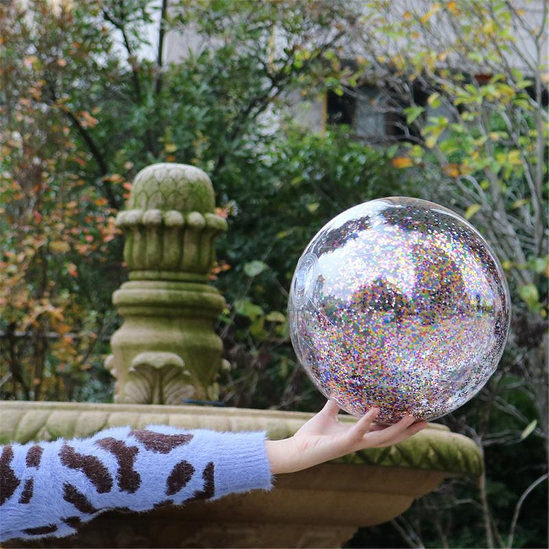 1Pcs Children Bling Transparent Swimming Ball Toys Round Inflatable Sequins Inside PVC Beach Ball Swimming Pool Floating Toy in Pool Accessories from Sports Entertainment