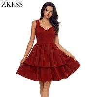 ZKESS Women Burgundy A Line Swing Skater Dress Sleeveless Fashion Cute Sweet Style Ruffles Tiered Prom