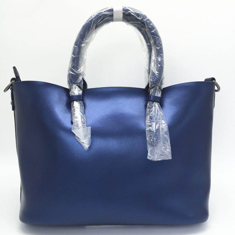 Luxury Design Womens Genuine Leather Casual Tote Purse Fashion Shoulder Handbag Ladies Blue Large Capacity Shopping Bag Bolsos