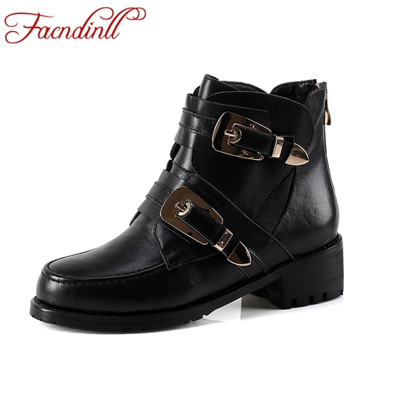 FACNDINLL 2017 Autumn Women Cow Leather Square Heels Ankle Boots Buckle Casual Fashion Balck Round Toe Shoes Woman Riding Boots