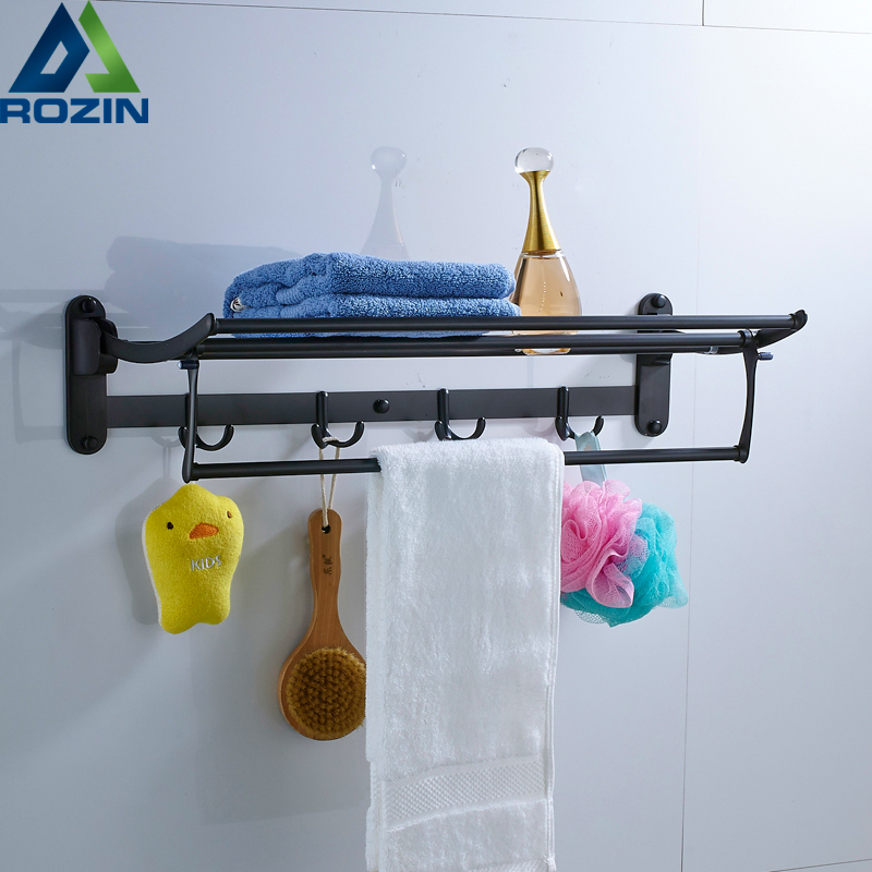Foldable Black Bronze Bath Towel Rack Active Bathroom Towel Holder Double Towel Shelf With Hooks Bathroom Accessories aluminum wall mounted square antique brass bath towel rack active bathroom towel holder double towel shelf bathroom accessories
