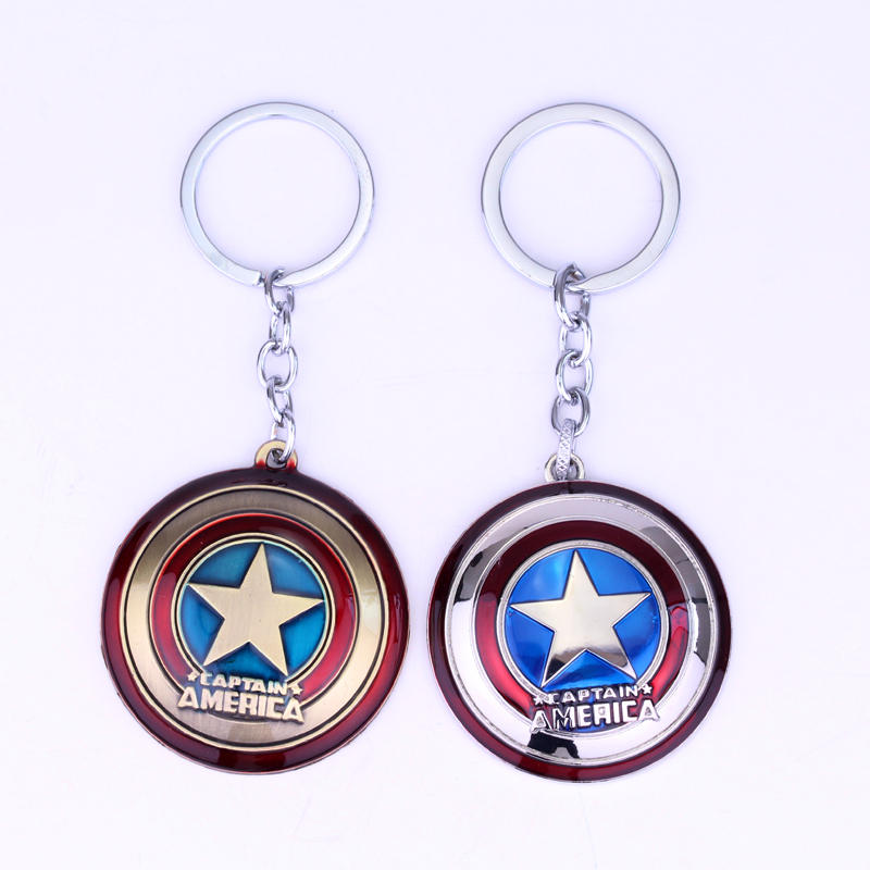 2 Colors Captain America Shield Keychain The Avengers Superhero Key Chain Ring Keyring Gift For Man Birthday Gift Jewelry