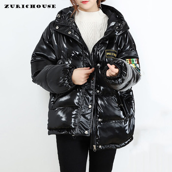 ZURICHOUSE Glossy Women's Parka Hooded Down Padded Coat Winter 2020 Fashion Streetwear Letter Tassel Thick Puffer Jackets Female