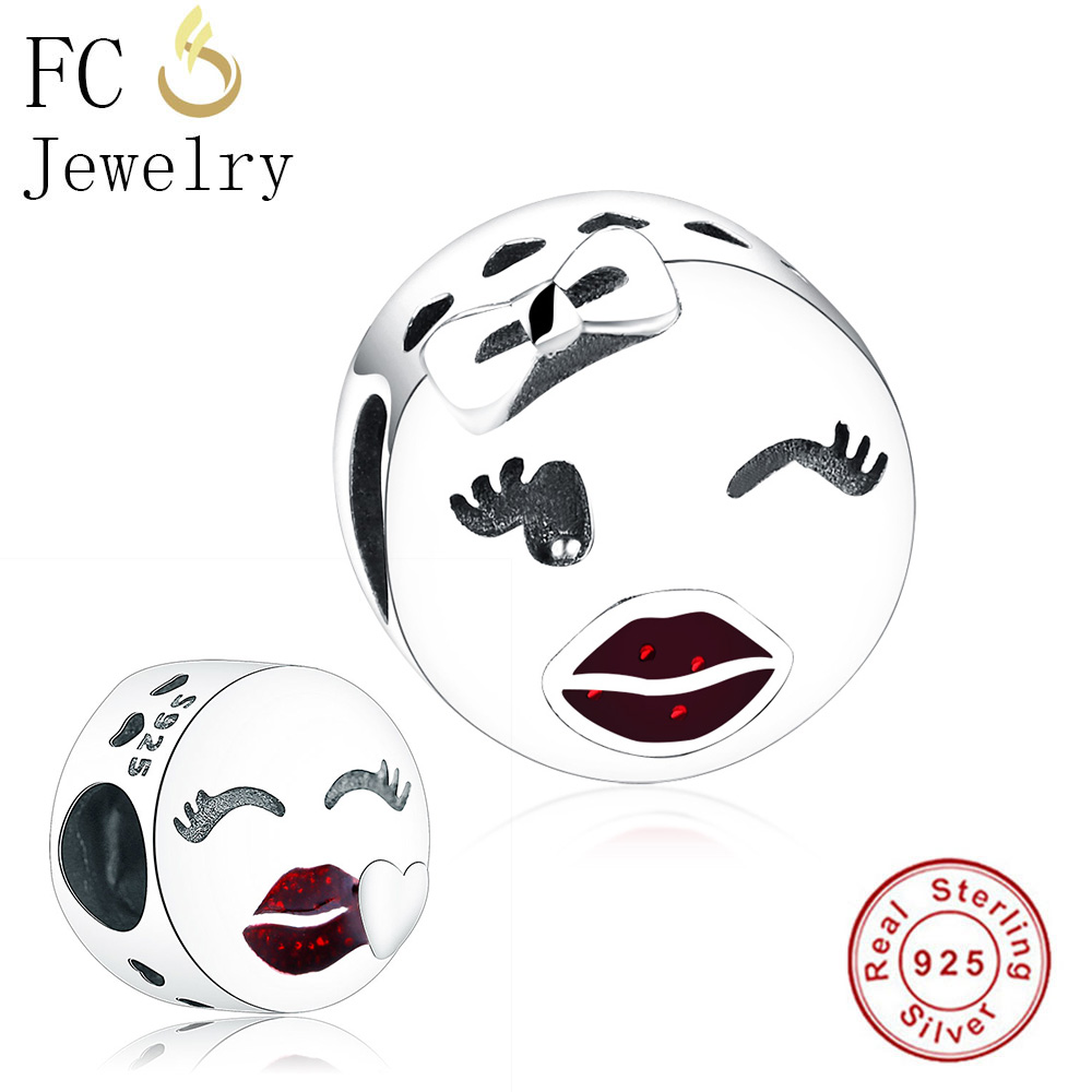 FC Jewelry Fits Original Pandora Charms Bracelet Authentic 925 Silver Playful Wink Face Beads for Making Gift Berloque DIY 2018