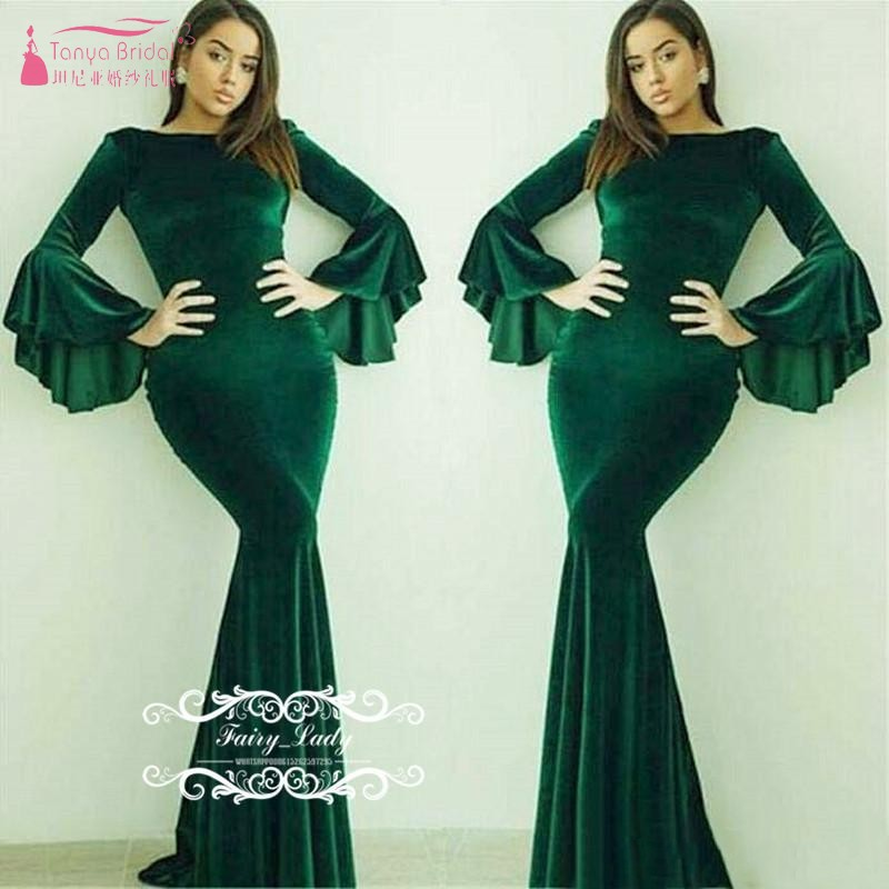 Dark Green Velvet Long Bishop Sleeves Evening 2019 Arabic Dubai Women Jewel Neck Formal Mermaid Prom Dress Robe De S JQ168