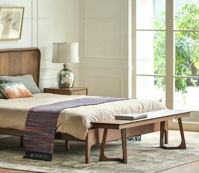 Treasured Classic / Old Elm Bench / Minimalist Modern European Wood Bed End  Stool / Minimalist