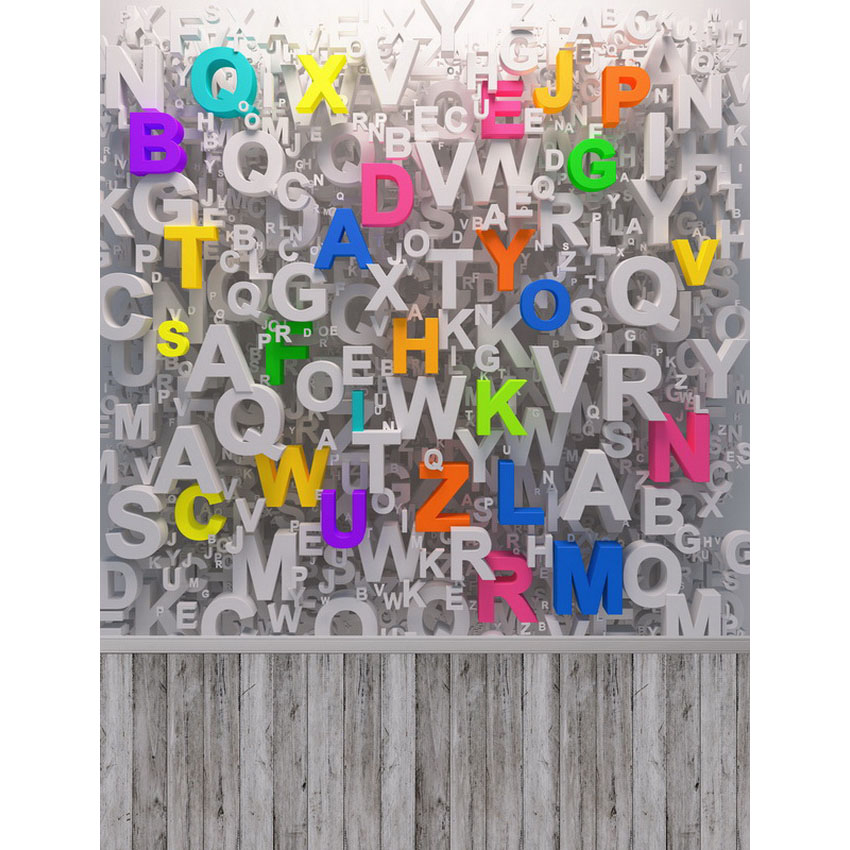 Colorful Letters Wall School Photography Backdrops Computer Printing Thin Vinyl Background For Children Photo Studio S-2417 wooden floor and brick wall photography backdrops computer printing thin vinyl background for photo studio s 1120