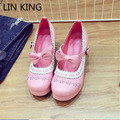 LIN KING Fashion New Style Lolita Shoes Women Spring Pumps Sweet Bowtie Buckle Platform Medium Heel Cosplay Princess Pump Shoes