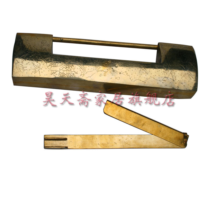 [Haotian vegetarian] antique copper lock / Chinese decoration brass fittings HTH-043 [haotian vegetarian] antique copper long white locks white tongsuo bookcase door 11 2cm cabinet lock hth 091
