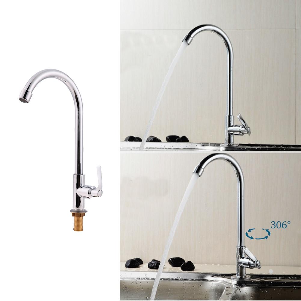 Single Handle Single Hole 360 Degree Rotating Kitchen Faucet Copper Chrome Swivel Home kitchen Bathroom Hardware