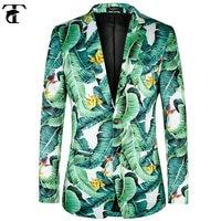Exclusive!! Fashion Printed Mens Blazers New Arrivals 2017 plus European size 44 58 Banana Leaf Pattern Floral Suit Jackets