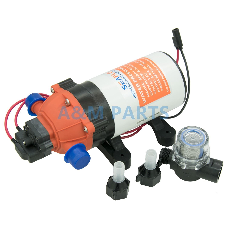 Self Priming Diaphragm Pump Boat Marine RV Diaphragm Water Pump 12V 70 PSI 2.2 GPM