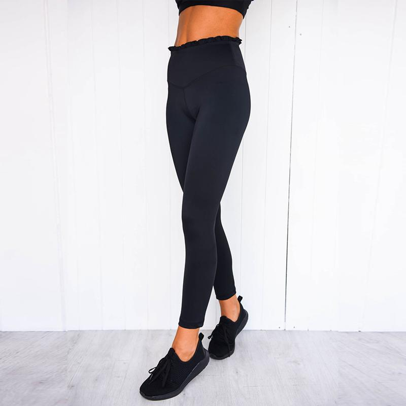Conjunto esportivo feminino de cintura alta, roupa