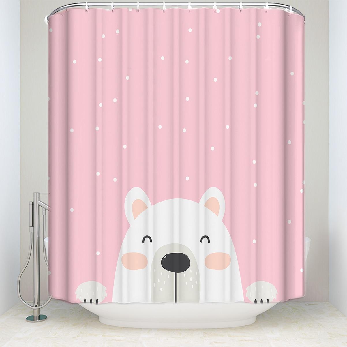 Us 17 34 35 Off Custom Waterproof Bathroom Cute Cartoon Bear Print Shower Curtain Polyester Fabric Spot Pink Bathroom Curtain In Shower Curtains