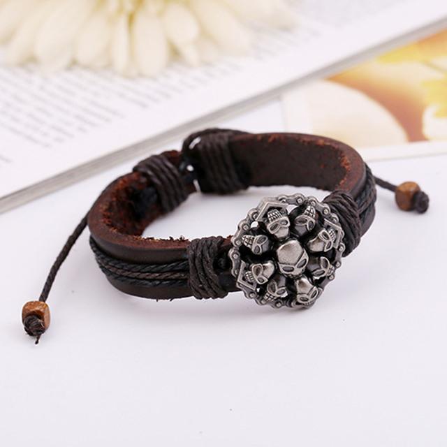 Skull Retro Leather Dark Brown Bracelets