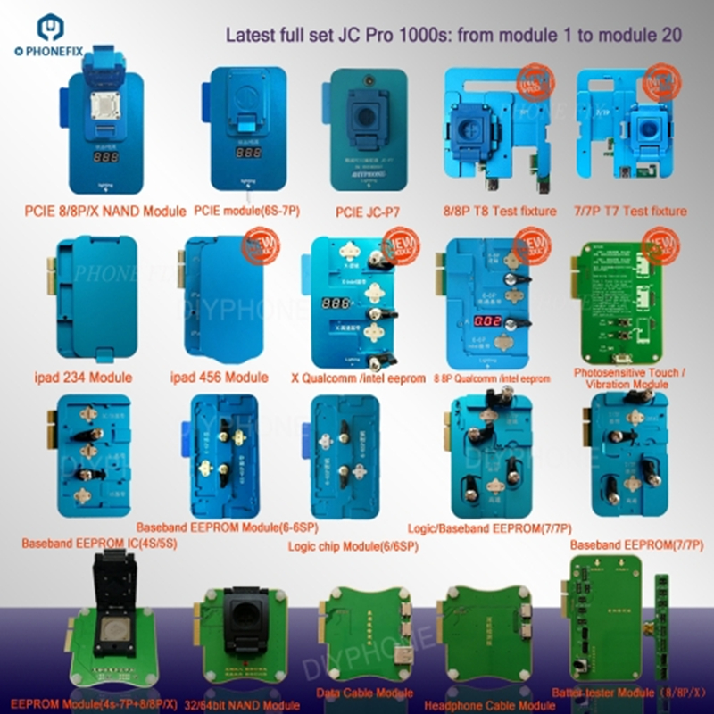 PHONEFIX JC Pro1000S NAND Programmer PCIE NAND Test Tool HDD SN Read Tool Battery Data Line