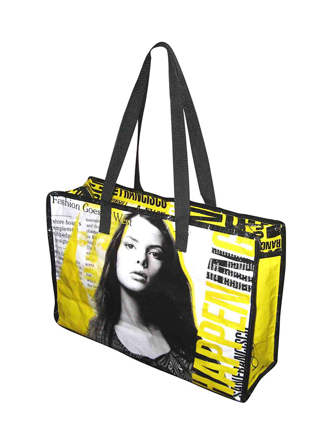 Full color glossy lamination promotional PP woven shopping bags with long handles tote bags gift bags