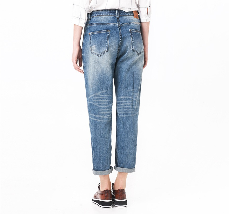 LEIJIJEANS Spring Plus Size Fashion Ripped Hole Bleached Mid Waist Ankle Length Vintage Stretch Loose Harem Women Jeans 14