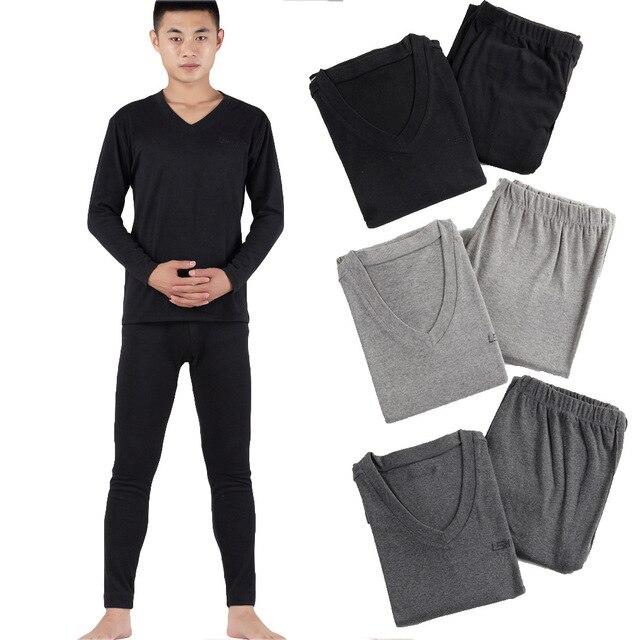 1972e7fa05b 2017 autumn winter men cotton long johns warm knitting thermal underwear  sets tops+high waist pants plus size xl- 5xl 6xl 7xl