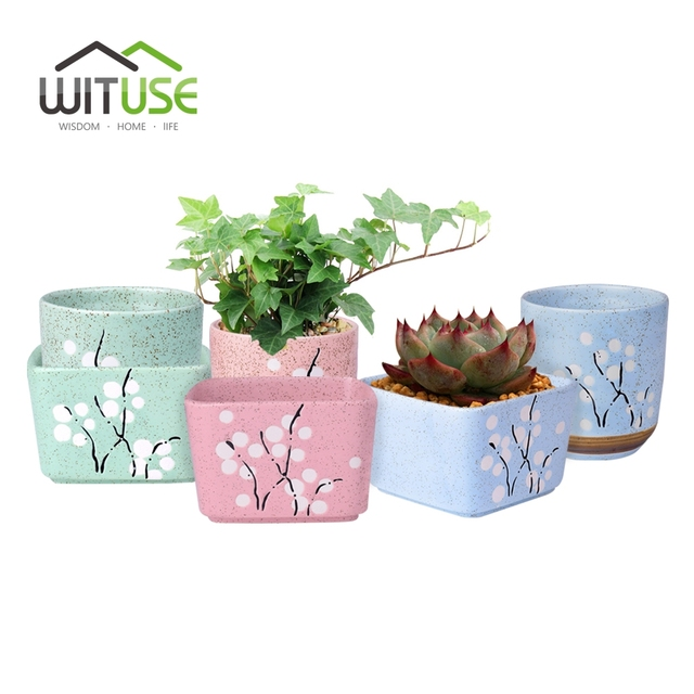 wituse 6x mini round square succulent plant flower pot decorative