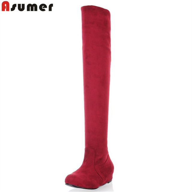 7e4192834aa45 ASUMER Plus size 34-47 new fashion over the knee boots flat thigh high  suede boots low price black female fashion boots womens