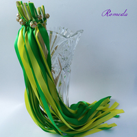 Hot selling 50pcs/lot Colorfull bell Yellow and Green wedding wands for wedding decoration