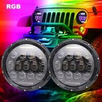 car light 2 pcs 7 inch Round Led Headlight RGB Custom Color Bluetooth Hi/Lo Led 12V 24V for Jeep Wrangler Lada Niva .