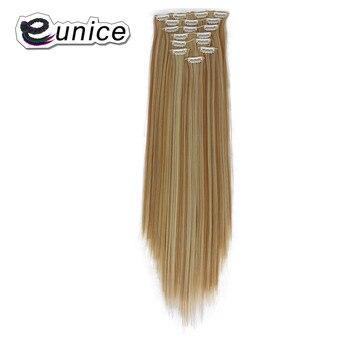 Extensiones de Cabello con clip recto largo sintético de 24 pulgadas y 8 unids/set de 17 Clips, extensiones de cabello Eunice #27/613
