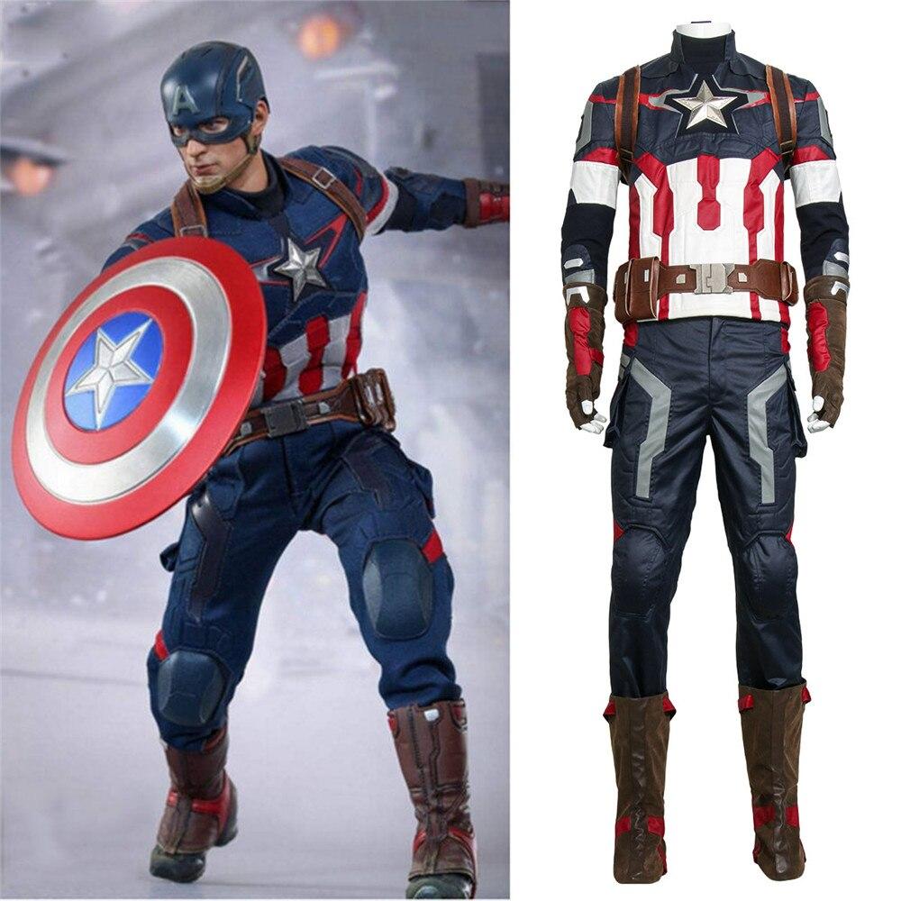 New Captain America 3 Civil War Steve Rogers Cosplay Costume Avengers Age of Ultron Hero Battle Suit Halloween Cosplay Costume