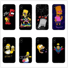 Simpson Black Silicone phone Case cover For iPhone 5 5S SE 6 6s 7 8 Plus X 10 XR XS Max Bart funny cartoon coque