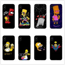 Simpson Black Silicone phone Case cover For iPhone 5 5S SE 6 6s 7 8 Plus X 10 XR XS Max Bart Simpson funny cartoon coque(China)