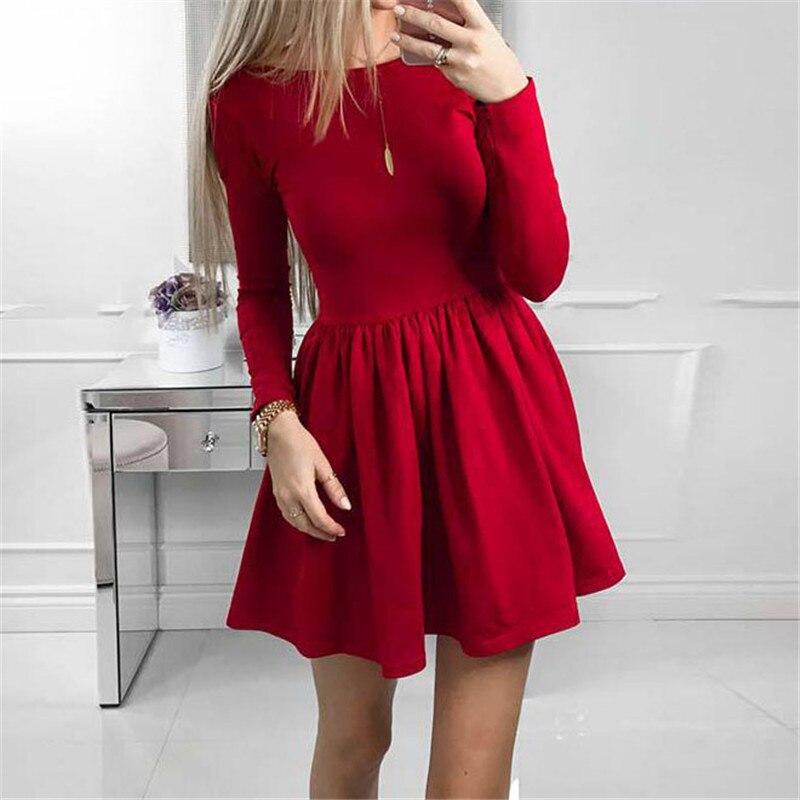 Party Dress 2018 Spring Women Long Sleeve Ruffle Sexy Casual Kawaii Solid A-Line Dress Cute Des Festa Sexy Mini GV419
