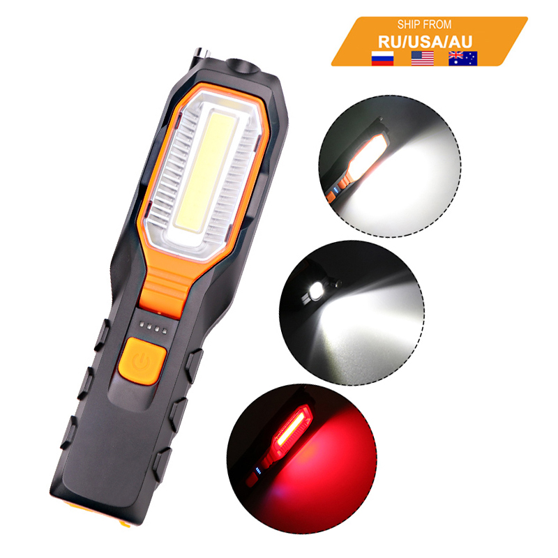 ZK20 Dropshipping COB 4000LM LED Work USB Rechargeable Flexible Magnetic Inspection Lamp Flashlight Emergency Working Light