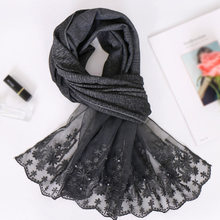 Muslim Scarf Women Black Hijab Islamic Shawls Arabic Headcover Floral Lace Pearl Hijab Turban Headscarf Long Islam Hijab Femme(China)
