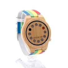 Nueva Fashion12 Agujeros Diseño De Bambú De Madera Del Reloj Para Hombre de Lujo Superior banda Banda de Cuero Reloj de Cuarzo con Banda de Color de Regalo caja