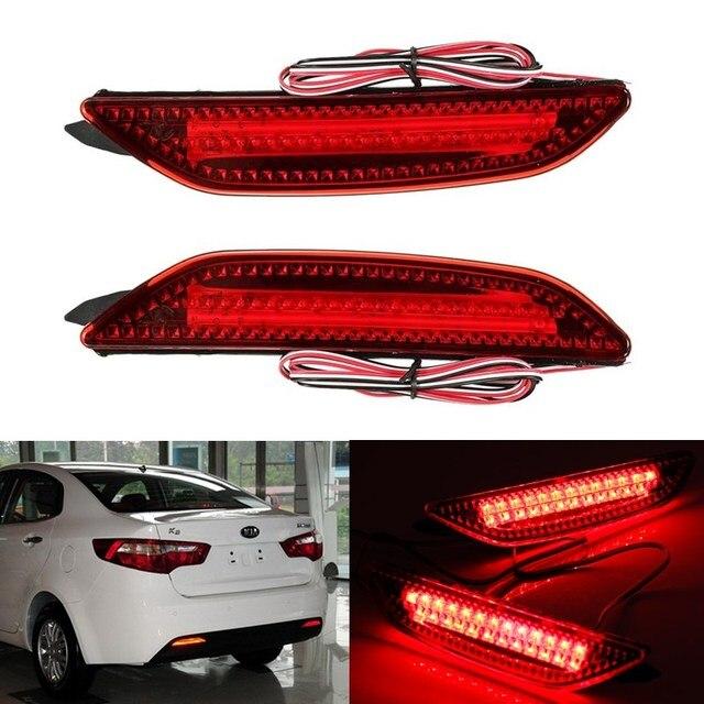 2x LED Vermelho Lente 25 LEVOU Choques Refletor Traseiro Nevoeiro Luz de Estacionamento aviso luz de Freio Da Cauda Da Lâmpada apto para 2011-2013 Kia Rio K2 Sedan
