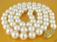 Free Shipping>>new hot 18 INCH 9 10MM AKOYA AAA+ SOUTH SEA WHITE PEARLS NECKLACE GOLD CLASP